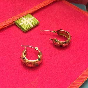 14K Solid Yellow Gold Huggie Earrings w/ Gemstones